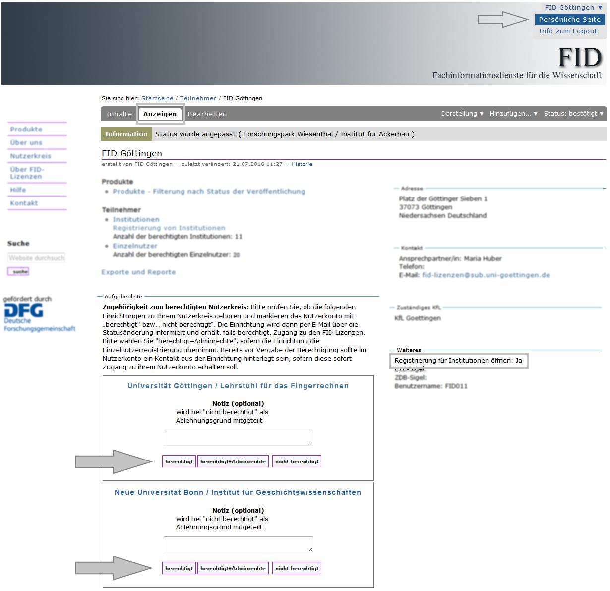 FID - Aufgabenliste
