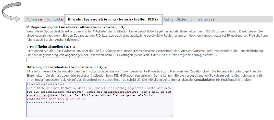 Institution - Einzelnutzerregistrierung - Registrierungsformular